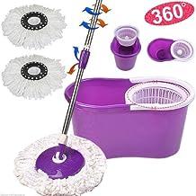 Purple 360° Degree Rotating Head Easy Magic Floor Mop & Spin Dry Bucket 2 Head Microfiber Twist Hurricane Spinning (No Foot Padel) by Autolizer