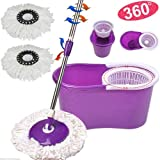 Microfiber Spin Mop Cleaning System -  Easy Press Magic Floor Mop Bucket Set with 2 Microfiber Mop Heads - Purple