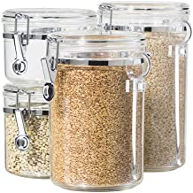 Oggi 4-Piece Acrylic Canister Set with Airtight Lids and Acrylic Spoons-Set Includes 1 each 28oz, 38oz, 59oz, 72oz