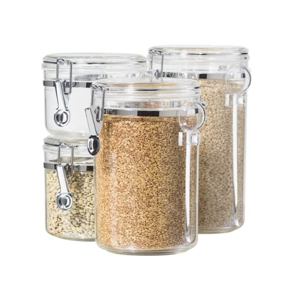 Oggi 5355 4-Piece Acrylic Canister Set with Airtight Clamp Lids and Acrylic Spoons-Food Storage Container 514J v mKZL