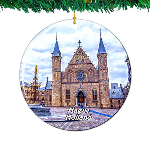 Weekino Inner Court & Hall of The Knights Hague Netherlands Holland Christmas Ornament City Travel Souvenir Collection Double Sided Porcelain 2.85 Inch Hanging Tree Decoration
