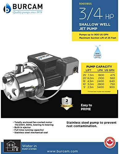 Burcam  Stainless Steel  Shallow Well Jet Pump  3//4 hp 900 US GPH  115//230 volt