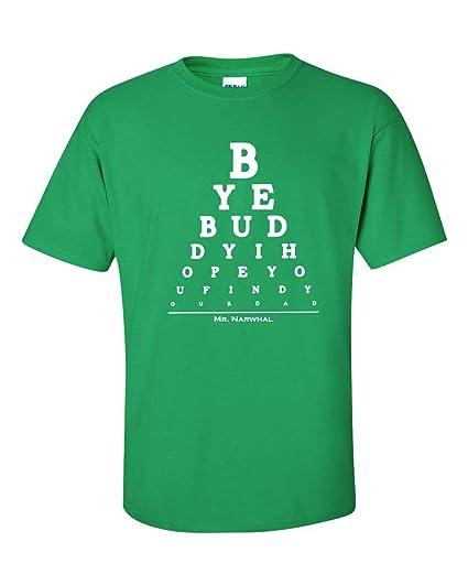 093a36cf4 Amazon.com: Bye Buddy Eye Chart Elf Movie Men's T-Shirt: Clothing