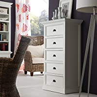 NovaSolo Halifax Pure White Mahogany Wood 5-Drawer Chest