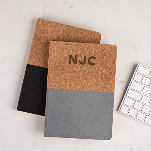 Personalized Monogram/Initials Book - Custom Birthday Gifts for Him - Journal for Men - Unique Vegan Cork Notebook 160 Pages / 80 Sheets Ruled Recycled Paper ()