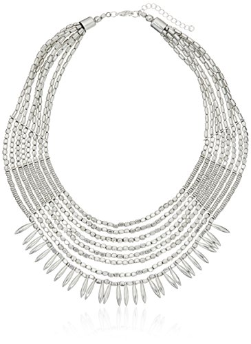 Panacea Silver Beaded Tribal Statement Necklace, 18