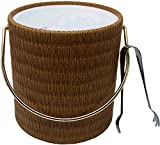 Image of Hand Made In USA Peanut Wicker Double Walled 3-Quart Insulated Ice Bucket With Bonus Ice Tongs