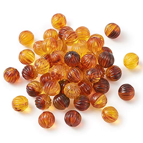 Pandahall 50pcs Clear Pumpkin Acrylic Amber Beads Loose Spacer Stone with Hole for Mala Yoga Jewelry Making Necklace Earrings Bracelet 12mm