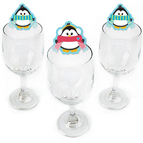 Holly Jolly Charm - Holly Jolly Penguin - Shaped Holiday & Christmas Party Wine Glass Markers - Set of 24