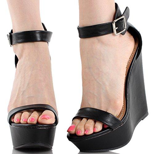 Breckelles Womens Open Teen Enkelband Platform Wedge Sandalen Zwart