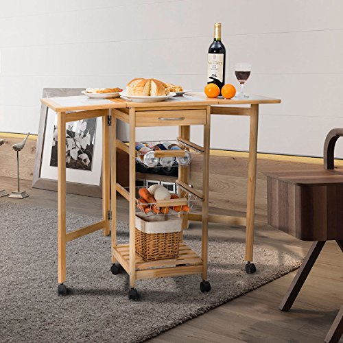 Giantex Portable Rolling Drop Leaf Kitchen Storage Tile Top wooden Drawers Trolley Cart Pine Drop Leaf