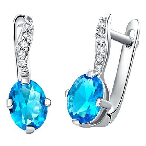 Daesar Silver Plated Stud Earrings Womens Silver Earring Blue Oval Earring Star Earrings CZ Earring - Million Dollar Man Costume