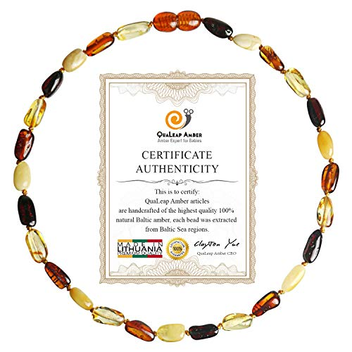 Baltic Amber Teething Necklace for Baby (Unisex - Multicolor - 12.5 Inches), 100% Authentic Baltic Amber Necklace Set for Toddler & Infant ...