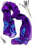 Dura Jonah Silk - Silk Scarf Neckerchief Silk Scarf For Women Silk Scarf 100 Percent (Purple with blue square pattern)