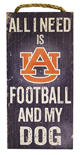 NCAA Auburn Tigers 6'' x 12'' All I Need is Football and My Dog Wood Sign by Fan Creations