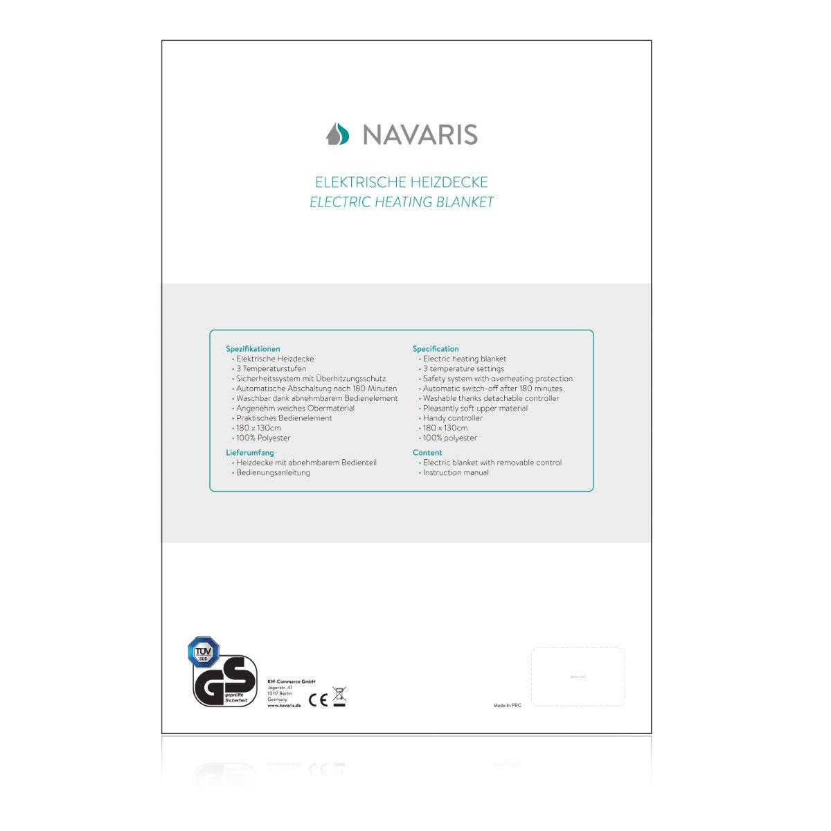 Lavable en Machine Arr/êt Automatique Navaris Couverture Chauffante /Électrique 180 x 130 cm Motif Damier Plaid Doux Canap/é Lit