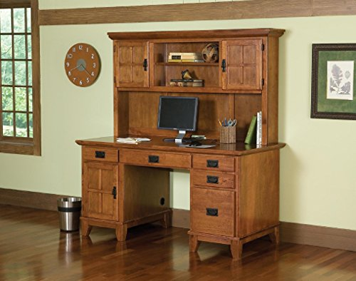 Home Style 5180-184 Arts and Crafts Double Pedestal Desk and Hutch, Cottage Oak Finish - Oak Double Pedestal Desk
