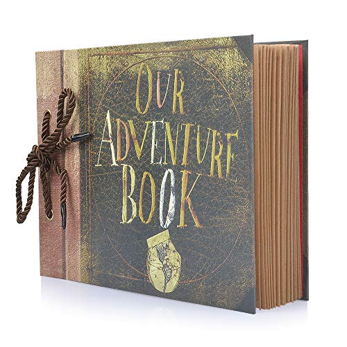 Photo Album Scrapbook, DIY Handmade Album Scrapbook Movie Up Travel Scrapbook for Anniversary, Wedding, Travelling, Baby Shower, etc (Our Adventure Book)