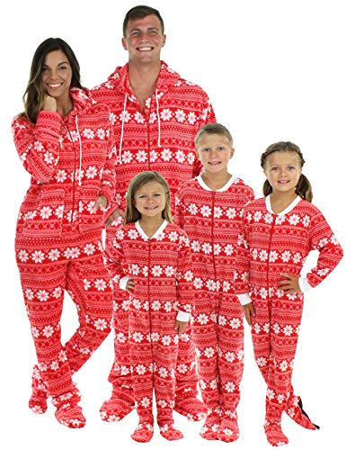 SleepytimePjs Family Matching Red Snowflake Onesie PJs Footed Pajamas Kid's Red Snowflake - (STM17-2010-K-6) ()