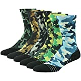 Trekking/Hiking Outdoor Socks Men, Huso Men's Women's Boy's Girl's High Performance Cool Printing Camo Compression Calf Sports Colorful Work Wicks Socks Dry Novelty 6 Pack