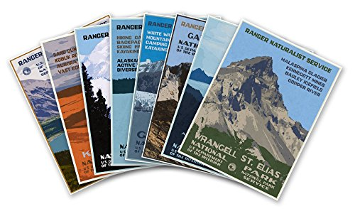 Set of Eight (8) U.S. National Park Service Travel Prints - Each Measure 24