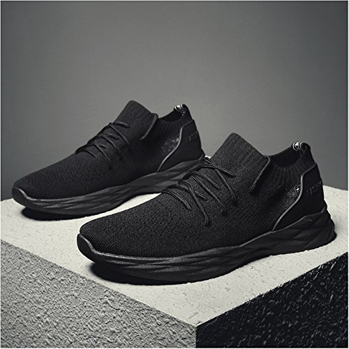 Shoes Leader Knitting Mens All black Breathable Fashion Walking Sports Casual show Sneakers zHwqFczr