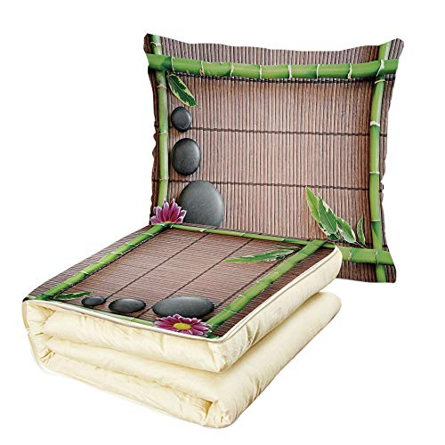 iPrint Quilt Dual-Use Pillow Meditation Spa Frame with Spiritual Stones Bamboo Stems Orchid Petals Yoga Zen Philosophy Multifunctional Air-Conditioning Quilt Multicolor by iPrint (Image #6)