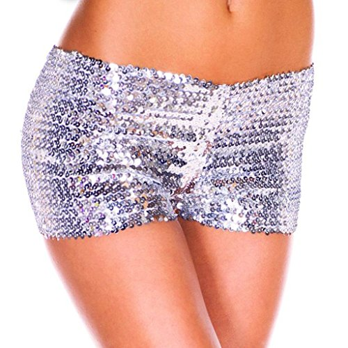 YiZYiF Fashion Women's Sparkling Sequins Party Clubwear Stretchy Dance Shorts Silver One Size