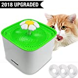 Zerhunt Pet Cat Fountain Water Bowl Automatic Cat Drinking Water Fountian - Electric Pet Water Dispenser Quiet Dog Flower Fountain With 3pcs Replacement Filter 2L Large Capacity