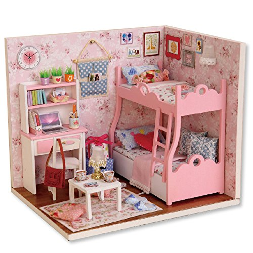 KitsPro DIY Wooden DollHouse,Dollhouse Miniature with Furniture Creative Room Gift Idea with Dust Proof Cover Golden years (Nice Proof)