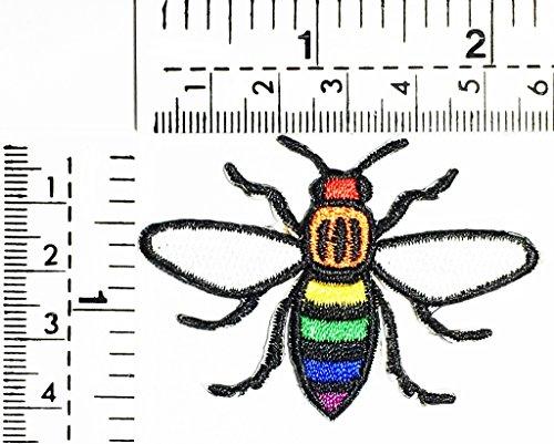 Bee Honey bee cartoon Rainbow bee logo fantasy kids Children cartoon patch Applique for Clothes Great as happy birthday gif -