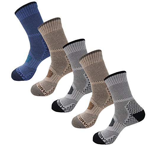 SEOULSTORY7 5pack Men's Full Cushion Mid Quarter Length Hiking Socks 5Pair Brown2P/Gray2P/Blue1P Med Crew Large