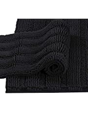 Extra Thick Quality Striped Bath Rugs for Bathroom, Anti-Slip Bath Mats Soft Plush Chenille Yarn Shaggy Mat Living Room Bedroom Water Absorbent