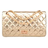 Ainifeel Women's Genuine Leather Quilted Chain Bag Shoulder Handbags Purse (Large, Gold)