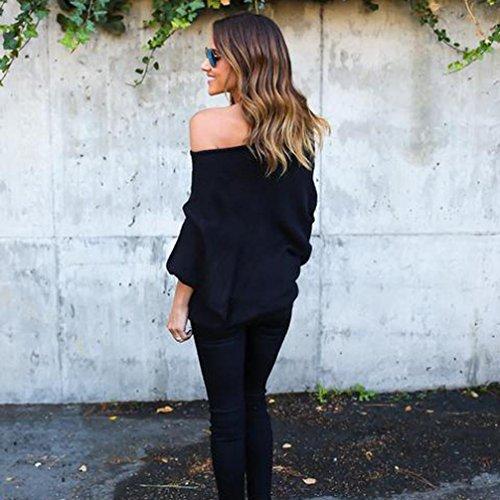 Noir Casual paules Top Shirt OverDose Femme dnudes Confort Sweat Longues Manches Loose Blouse Bardot BISqOqxE