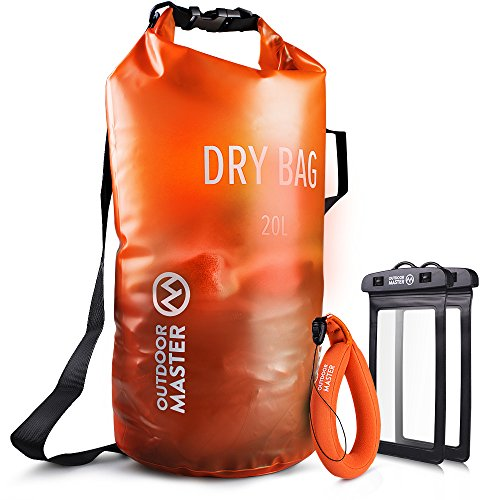 OutdoorMaster Dry Bag OPAK - Waterproof, Lightweight Dry Sack with 2 x FREE Waterproof Cell Phone Cases - for the Beach, Boating, Fishing, Kayaking, Swimming, Rafting (Orange, 20L)