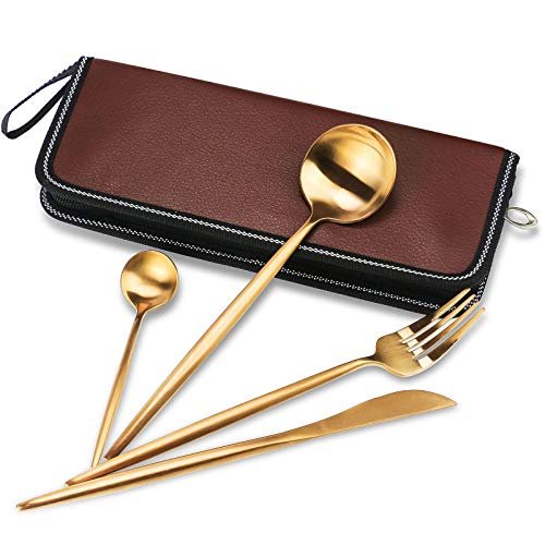 4 Pieces Spanish Stainless Steel Flatware Set, Knife Fork Spoons, Travel Camping Cutlery Set, Reusable Lunch Box Utensils, Portable Travel Silverware Set(4pcs golden with a leather box)