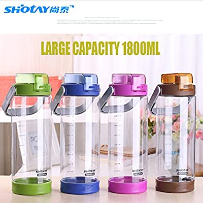 1800ml Sport Bouteille d'eau Bouteille d'eau en plastique de grande contenance avec poignée sans BPA d'escalade Direct boire Gobelet de cyclisme