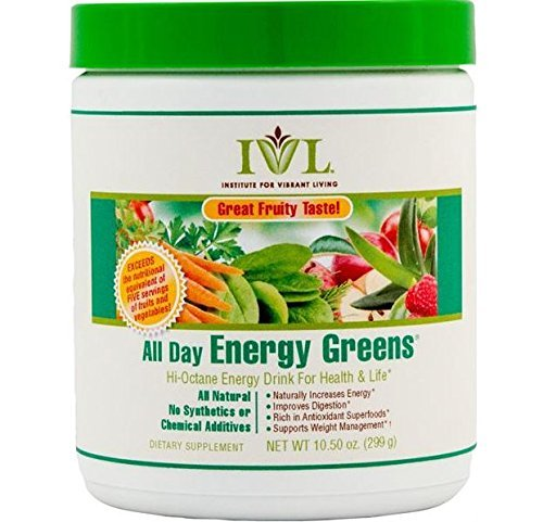 Institute for Vibrant Living All Day Energy Greens?de??d??? Fruit Flavor Hi-Octane Energy Drink For Health & Life Great Fruity Taste - 10.5 oz by Institute for Vibrant Living