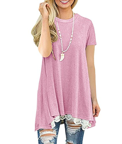 DUNEA Women's Tops Short Sleeve Lace Scoop Neck A-Line Tunic Blouse (XXL/US 20-22, (Pink Scoop Neck Top)