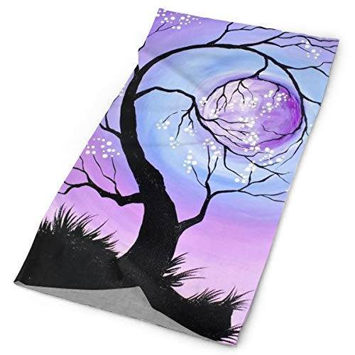 (O-X_X-O Clothing Accessories Stranger Tree Full Moon Space Things Purple Versatile Face Mask Shields, Casual Balaclava Headwear, Stretchable Bandana Headbands, Wind/Sun/UV Protection/Dust Neck Gaiter)