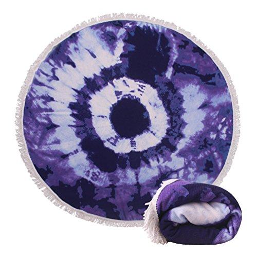 Genovega Thick Round Beach Towel Blanket - Blue Tie Dye Circular Picnic Carpet Fringe Women