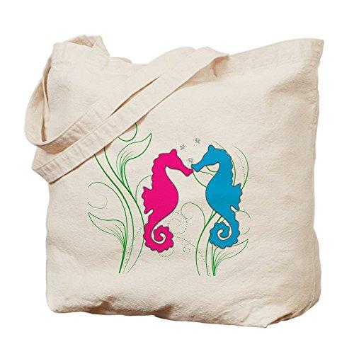 Cafepress–Seahorse Love Tote bag–Borsa di tela naturale, tessuto in iuta