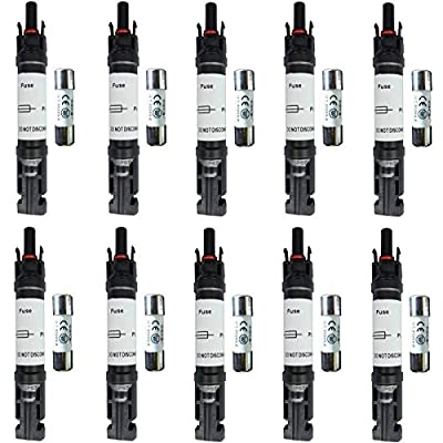 guangshun New 5PCS Solar PV MC4 Connector In-Line Fuse Holder +Fuse 15A 20A 30A MC4 Adaptor