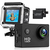 Waterproof Sports Camera 12MP Full HD 1080P Waterproof Camera Diving 30M Underwater Cam 170 Ultra Wide-Angle Lens Sports Camera for Biking, Racing, Skiing, Motocross and Water Sports