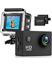 Busuo 170° Wide Angle Lens Full HD 2 Inch LCD 30m Waterproof Screen Action Camera With 2 Rechargeable Batteries and All Necessary Accessories Kit
