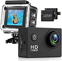 Action Camera, Full HD Camcorder 1080P Waterproof Cam 98ft Underwater 170° Wide-Angle Sports Camera with Outdoor...