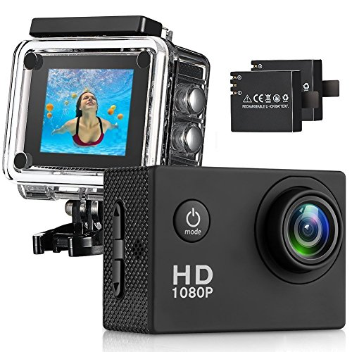 Action Camera , 12MP 1080P 2 Inch LCD Screen , Waterproof Sports Cam 140 Degree Wide Angle Lens , 30m Sport Camera DV Camcorder With 2 Rechargeable