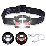 LIVEHITOP USB Rechargeable LED Headlamp, Super Bright Cree LED Head Torch Light Lightweight Waterproof Hands Free with Red Light Mode for Running, Camping, Fishing, Hiking, Cycling, Hunting, 5 Modes (Black/Silver)
