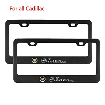 Zhengyong Auto 2pcs Matte Black Stainless Steel License Plate Frame Set for Cadillac,with Screw Caps Cover (Cadillac): Automotive
